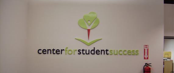 Reception sign for student center